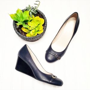 🎉Cole Haan Grand OS Navy Leather Wedges🎉
